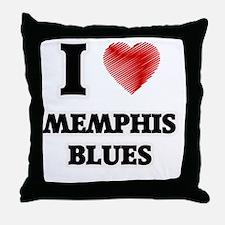 I Love Memphis Blues Throw Pillow