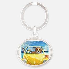 Cute Beach Oval Keychain
