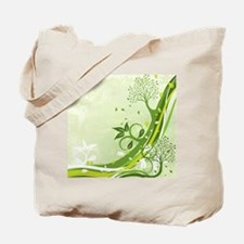 Decorative Green Floral Tote Bag
