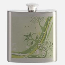 Decorative Green Floral Flask