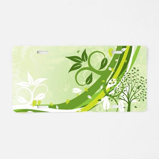 Decorative Green Floral Aluminum License Plate
