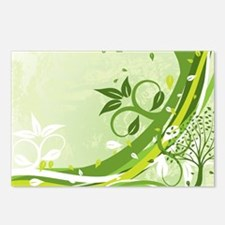 Decorative Green Floral Postcards (Package of 8)