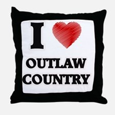 I Love Outlaw Country Throw Pillow