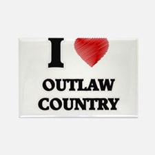 I Love Outlaw Country Magnets