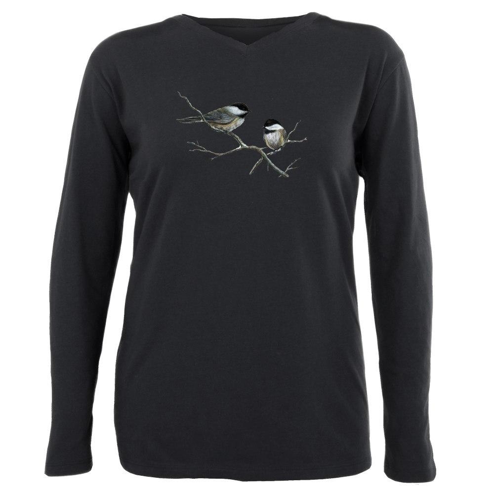 CafePress Chickadee Song Birds Plus Size Long Sleeve Tee 1788687040