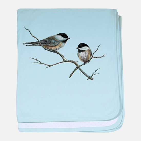 chickadee song birds baby blanket