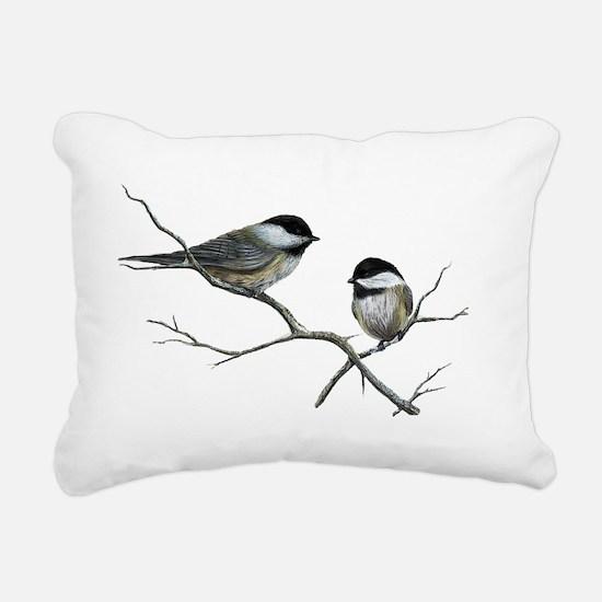 chickadee song birds Rectangular Canvas Pillow