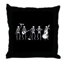 Jazzy Skeleton Quintet Throw Pillow