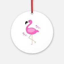 Pink Flamingo Hearts Round Ornament