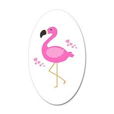 Pink Flamingo Hearts Wall Decal