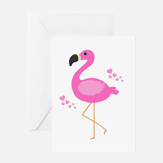 Pink Flamingo Hearts Greeting Cards