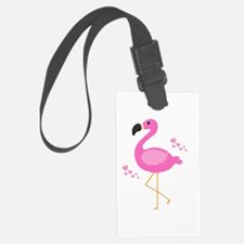 Pink Flamingo Hearts Luggage Tag