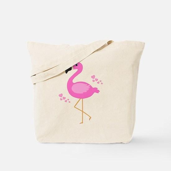 Pink Flamingo Hearts Tote Bag