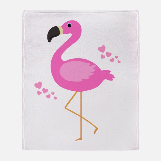 Pink Flamingo Hearts Throw Blanket