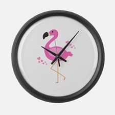 Pink Flamingo Hearts Large Wall Clock
