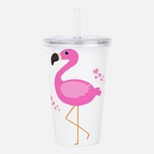 Pink Flamingo Hearts Acrylic Double-wall Tumbler
