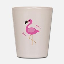 Pink Flamingo Hearts Shot Glass
