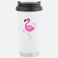 Pink Flamingo Hearts Travel Mug