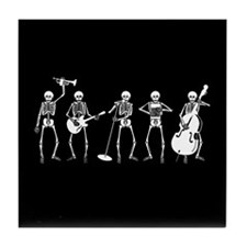Jazzy Skeleton Quintet Tile Coaster