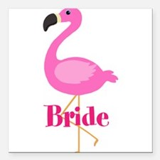 "Bride Pink Flamingo Square Car Magnet 3"" x 3"""