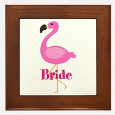 Bride Pink Flamingo Framed Tile