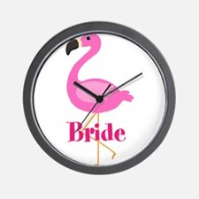 Bride Pink Flamingo Wall Clock