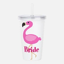 Bride Pink Flamingo Acrylic Double-wall Tumbler