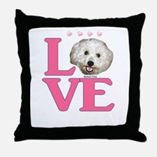 LOVE Bichon Frise Throw Pillow