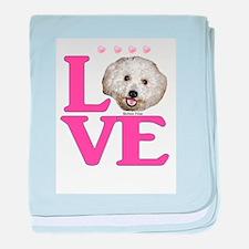 LOVE Bichon Frise baby blanket