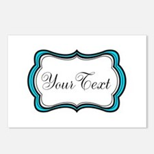 Personalizable Teal Black White Postcards (Package