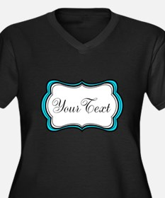 Personalizable Teal Black White Plus Size T-Shirt