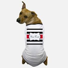 Personalizable Red Black White Stripes Dog T-Shirt