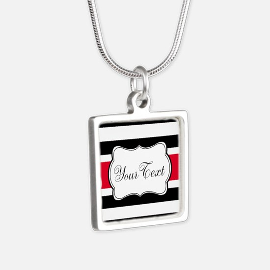 Personalizable Red Black White Stripes Necklaces