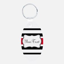 Personalizable Red Black White Stripes Keychains