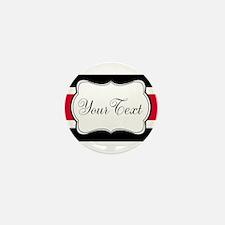 Personalizable Red Black White Stripes Mini Button