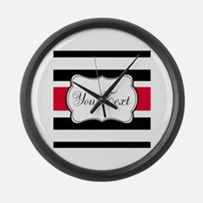 Personalizable Red Black White Stripes Large Wall