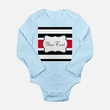 Personalizable Red Black White Stripes Body Suit