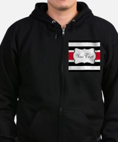 Personalizable Red Black White Stripes Zip Hoodie
