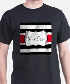 Personalizable Red Black White Stripes T-Shirt