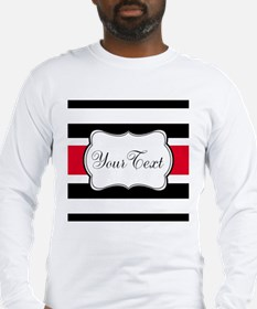 Personalizable Red Black White Stripes Long Sleeve