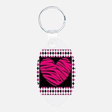 Pink Heart Zebra on Diamonds Keychains