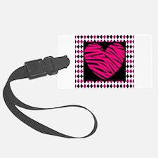 Pink Heart Zebra on Diamonds Luggage Tag