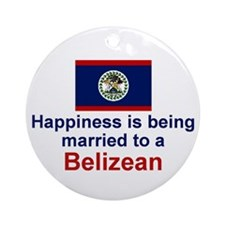 Happily Married to a Belizean Ornament (Round)