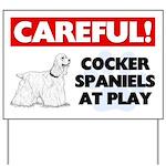 Careful Cocker Spaniel At Play Yard Sign