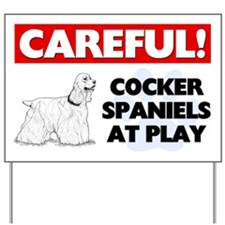 Careful Cocker Spaniel At Play Yard Sign