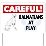 Dalmatians at play Yard Signs