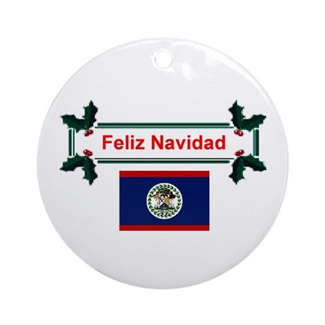Belizean Feliz Navidad Ornament (Round)