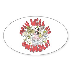 PARTY WITH THE ANIMALS Oval Decal