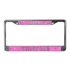 Pink Polka Dot Yellow Lab License Plate Frame