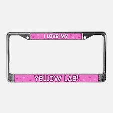 Pink Polka Dot Yellow Lab License Plate Frame